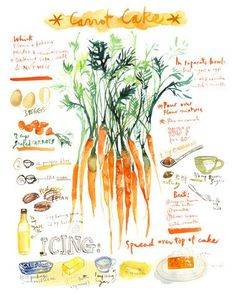Carrot cake recipe poster Watercolor illustrated by lucileskitchen