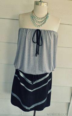 WobiSobi: Chevron Strapless Dress, DIY