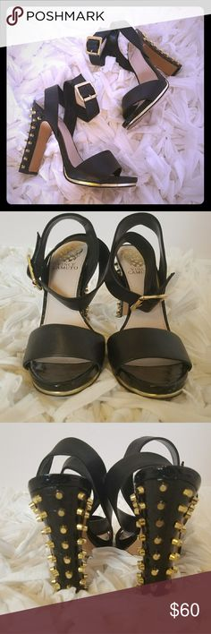 Vince Camuto Studded Heels Vince Camuto Studded Thick Heels - black and gold.  Great condition - only worn 3x.  Minor cracks around the back top of both heels and a rubbed mark in the front of the left heel - see images.  Black leather straps crisscross around the ankle. Vince Camuto Shoes Heels