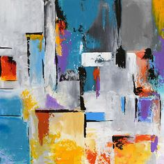 Large Abstract Contemporary Square Painting On Canvas