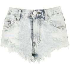 TOPSHOP **Ripped Denim Shorts by Glamorous ($32) ❤ liked on Polyvore featuring shorts, topshop, bottoms, denim, bleached jean shorts, ripped shorts, jean shorts, cut off jean shorts and cut-off jean shorts