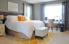 12 Jaw-Dropping Master Bedroom Makeovers (Before and After) - office desk in front of window