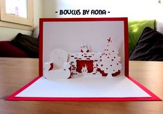 Even though it's past the holidays, this template is easy to use and customize for any occasion. Christmas Pops, Christmas Cards To Make, Xmas Cards, 3d Cards, Pop Up Cards, Cute Cards, Origami, Paper Art, Paper Crafts