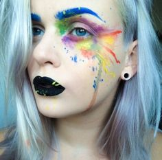 watercolor face paint makeup - do you know how long I have been looking for this picture? Face Paint Makeup, Makeup Art, Beauty Makeup, Sfx Makeup, Makeup Ideas, Makeup Tips, Rainbow Face, Rainbow Makeup, Cosplay Make-up