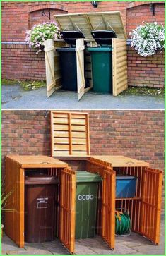 garden shed Best DIY Garden and Yard Sheds Expand Your Storage Shed Conversion Ideas, Bin Shed, Garbage Can Storage, Garbage Can Shed, Garden Shed Diy, Home And Garden, Yard Sheds, Bin Store, Wooden Pallet Projects