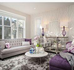 Glitzy Living Room With Dark Purple Accents, Benjamin Moore Shadow