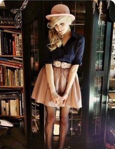 navy. camel. vintage. cloche. tights.
