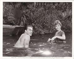 DEBBIE REYNOLDS LESLIE NIELSEN Shirtless CANDID on Set Vintage 1957 TAMMY Photo
