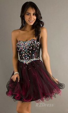Short Red and Black Strapless Homecoming Dress | Long Prom ...