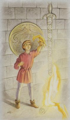 Celtic Dragon Tarot (DJ Conway, Lisa Hunt): Page of Swords