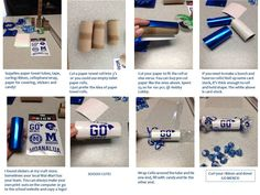 Cheerleader Spirit Sticks! Cut up paper towel rolls, decorate and fill with candy! Throw at a pep-rally or during the game to fans!