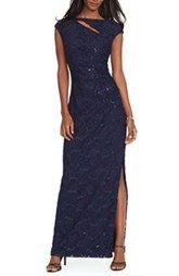 Lauren Ralph Lauren Sequin Cutout Gown (Regular & Petite)