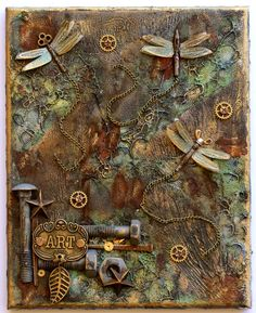 Steampunk Style Mixed Media Canvas - Flying Unicorn
