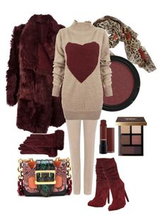 """Burgundy"" by emeselanyi ❤ liked on Polyvore featuring Dolce&Gabbana, Meteo by Yves Salomon, Burberry, Loro Piana, Jolie By Edward Spiers, Vivienne Westwood Anglomania, Bobbi Brown Cosmetics and Guanti Giglio Fiorentino"