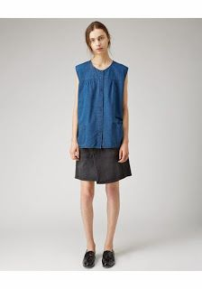 chambray apron top, by 6397. front view.