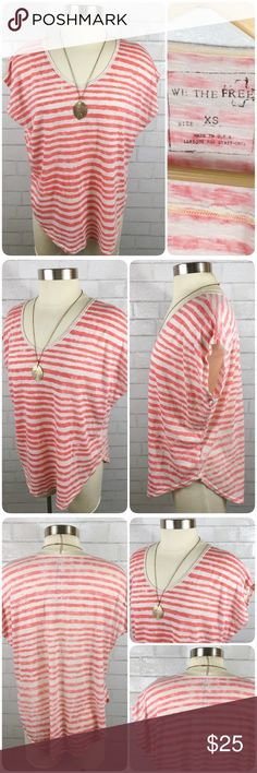 """Free People We The Free Striped Pullover T-shirt This Free People """"We the Free"""" top is in excellent condition. Drop short sleeves, curved hem, loose fit. Free People Tops Tees - Short Sleeve"""