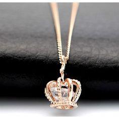 Fashion Shiny Rose Rhinestone Crown Necklace