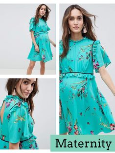 I absolutely love this maternity tea dress! ***tap dress to reveal price*** pregnancy floral green blue turquoise pretty summer casual frills #ad #aff