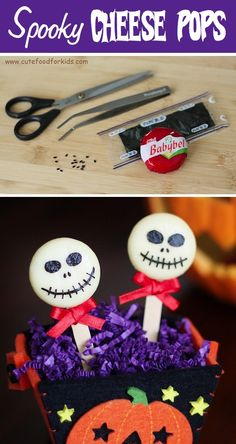 Really cute. This would be cute for your child's lunch too :) Cheese round, Popsicle stick and edible marker in black. Love this idea!! www.therapyforyourchild.com