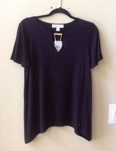 NWT MICHAEL KORS WOMEN'S BLACK RAYON/SPANDEX SHORT SLEEVE BLOUSE SZ S-$89.50 #MichaelKors #Blouse