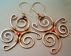 Wire Wrapped Earrings Hammered Copper Handmade by GearsFactory