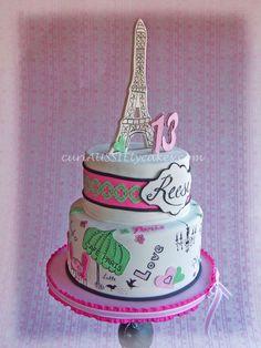 Paris theme 13th birthday cake