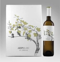 Jaspi Blanc Wine Packaging - I admit to being label shopper when it comes to choosing vino, and as much as I love to be impressed by exotic graphics, it's an aesthetic lik. Wine Bottle Design, Wine Label Design, Wine Bottle Labels, Wine Bottles, Beverage Packaging, Bottle Packaging, Red Wine Glasses, Wine Brands, Wine And Spirits