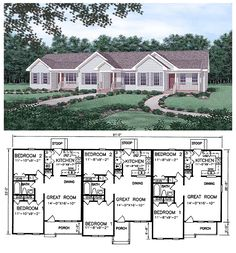 #MultiplexPlan 45364 | This is an attractive #Triplex design featuring two bedrooms and one bath per unit. Ideal for students, budding families or empty nesters, each unit also includes a spacious Great Room with dining area and an efficient kitchen with a washer/dryer nook.