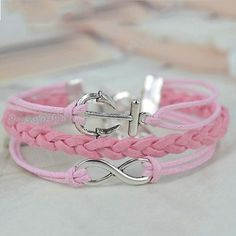 Bridesmaid Gift 1pcs Pink Silver Tone Infinity Anchor Charm DIY Bracelet   eBay