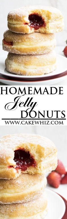 Learn how to make perfect HOMEMADE JELLY DOUGHNUTS (or donuts) with detailed instructions. Make them even more delicious by topping them with chocolate fudge frosting and strawberries. Great Summer dessert or snack. From cakewhiz.com