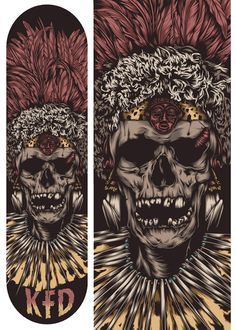 "KFD - ""Zulu Zombies"" skate deck design by One Horse Town Illustration Studio."