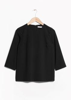 & Other Stories image 2 of Buttoned Crepe Top in Black