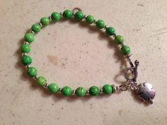 Green Bracelet  Turquoise Gemstone Jewelry  Silver by cdjali
