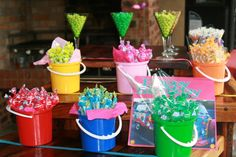 No party is complete without some sweets and so our Rainbow Flower Power party had the colours of the rainbow on display!