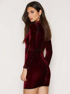 Long Sleeve High Neck Velvet Dress