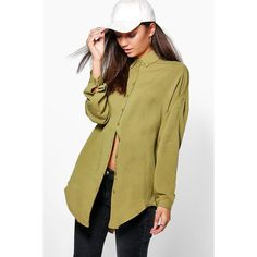 Boohoo Tall Tall Kayla Linen Look Oversized Shirt ($30) ❤ liked on Polyvore featuring tops, t-shirts, olive, crop t shirt, brown long sleeve shirt, long sleeve jersey shirt, jersey t shirt and basic t shirt