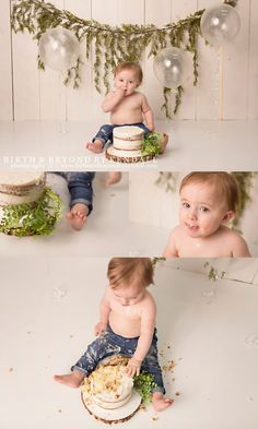 simple greenery set up for baby boy first birthday cake smash photo session Recent Work - Birth & Beyond by Kendall Smash Cake First Birthday, Simple First Birthday, Baby Cake Smash, Baby Boy 1st Birthday Party, Birthday Themes For Boys, First Birthday Outfits Boy, Birthday Ideas, First Birthday Photography, Cake Smash Outfit Boy