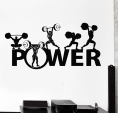 Wall Vinyl Decal Powerlifting Bodybuilding Sport Barbell Home Interior Decor z4192