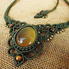Macrame Necklace Pendant Sumatra Amber Stone Quartz Waxed Cord Handmade Cabochon #Handmade #Pendant