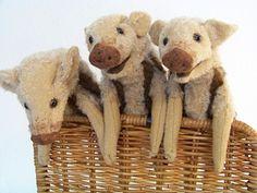 Drei Frischling (Klappmaul-Tierfiguren aus Mohair)