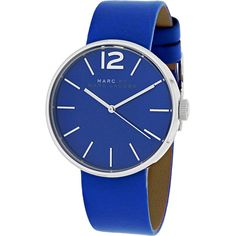 Marc Jacobs Women's MBM1364 Peggy Round Blue Leather Strap Watch (3.845 CZK) ❤ liked on Polyvore featuring jewelry, watches, blue, orologi, dial watches, marc jacobs, blue watches, crown jewelry and analog watches