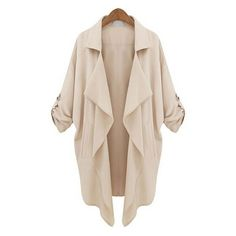 Apricot Roll Tab Sleeve Waterfall Collar Duster Coat ($26) ❤ liked on Polyvore featuring outerwear, coats, collar coat, duster coat, waterfall coat, leather-sleeve coats and pink duster coat