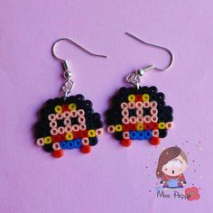 Orecchini mini Hama Beads Super Eroi by Mrs. Poppy, 6,00 euro su misshobby.com. super heroes mini hama beads earrings.