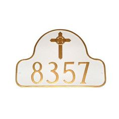 Montague Metal Products Arch with Celtic Cross Address Plaque Finish: Brick Red / Gold, Mounting: Wall