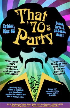 """This is a flyer that we have created for ShBoom Nightclub. The theme of this event is """"That 70's Party"""". The designer had the idea of using a Afro Disco man and also using """"That 70's show"""" Font for the header. Far Out right! LunaGraphica 