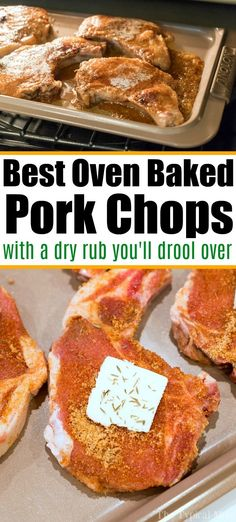 Best Baked Pork Chops with a Dry Rub! Best baked pork chops with a dry rub that's sweet and savory at the same time. Tender and juicy right out of the oven in 12 minutes, you're gonna' love this. Best Baked Pork Chops, Roast Pork Chops, Juicy Pork Chops, Oven Cooked Pork Chops, Dry Rub Pork Chops, Baked Pork Chop Seasoning, Baked Pork Steaks Oven, Pork Chop Marinade Baked, Foodies