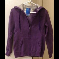 NWT Champion purple sweatshirt w/hood Size S NWT Champion purple sweatshirt with hood. Made of 52% cotton & 48% polyester.  Size S Champion Jackets & Coats