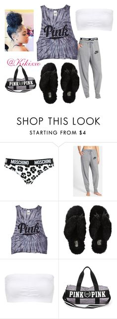 """""""Sleepover💤👭"""" by kikixxo ❤ liked on Polyvore featuring Moschino, NIKE, Victoria's Secret PINK, UGG Australia and Charlotte Russe"""