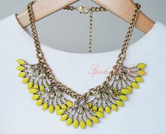 Fan Fringe Statement Necklace Crystal Bib by SparksFlyJewellery, $9.80