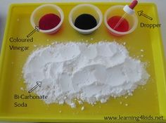 This Science Learning Tray Activity is a bit of fun for children to explore Bi-Carbonate Soda (baking soda) and Coloured Vinegar. It is a great way to encourage scientific thinking and skills. Science Area, Preschool Science, Science For Kids, Science Activities, Science Projects, Science Experiments, Science Centers, Summer Science, Science Fun
